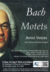 Bach Motets April 1st 2016